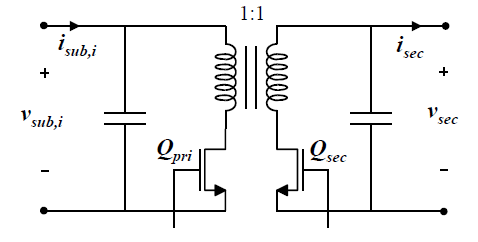Figure 2.4: Bi-directional yback topology used for the subMIC power stage with MOSFET switches.