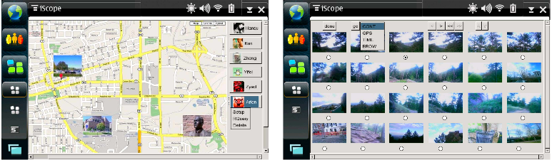 Figure 4.6: User interface running on Nokia N810. The figure on the left shows the start page, and the figure on the right shows search results. Last row in search results is based on adaptive prediction.