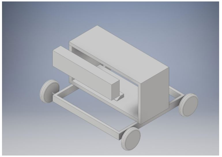 Figure 17 A basic CAD drawing of the current NELI design, featuring the Kinect mounted on a tablet stand in front of the two wooden platforms