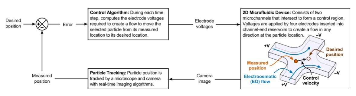 Fig. 34 Schematic of vision-based electrokinetic feedback control in two dimensions