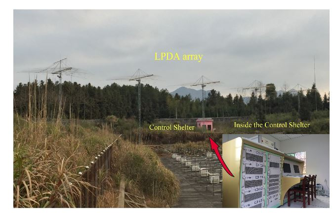 Figure 1. Photo of WIOBSS-AA site showing the log-periodic antenna array. The pink building in the center of the photo is the shelter of the hardware