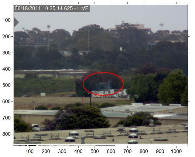 Figure 1: Visible Image of Active Fire Scene with Identified Smoke