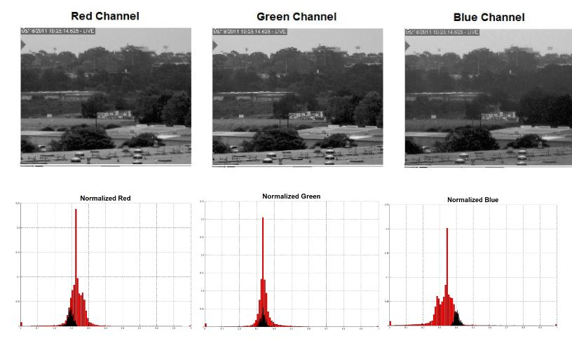 Figure 21 : Image and Histogram Comparison of Fire Scene with Visible Bands