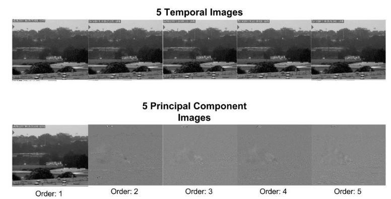 Figure 27 : 5 Temporal Blue Images and Principal Component Images