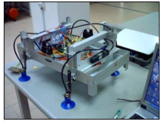 Figure 3: Four-legged slider-crank suction powered wall-climbing robot system