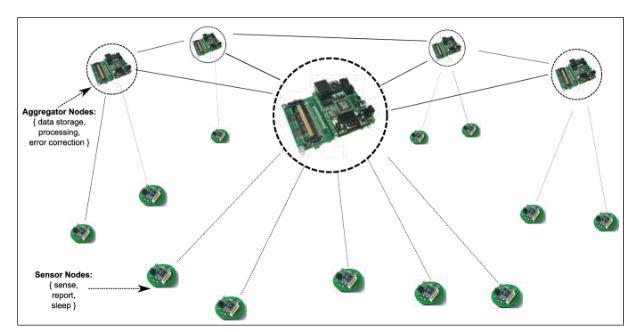 Figure 3.1: Network of sensor nodes and clusterheads