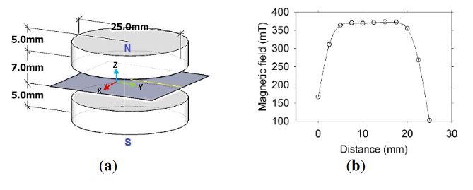 Figure 2. (a) Magnet arrangement for the sensor