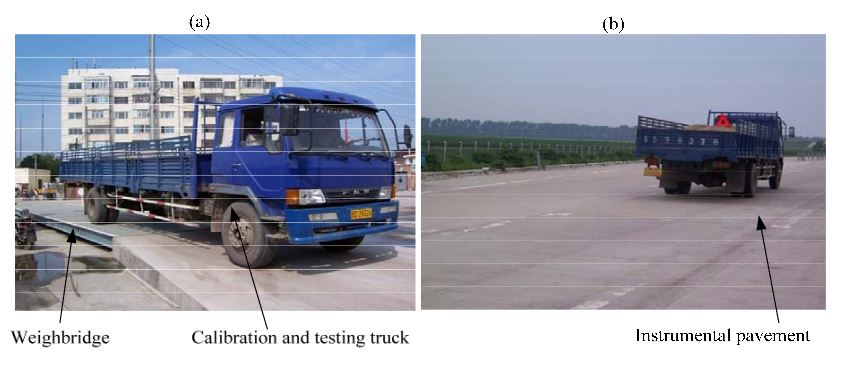 Figure 13. A two-axle truck for calibration and testing (a) vehicle static wheel load on a static whole-vehicle weighbridge; (b) vehicle passing the instrumental pavement