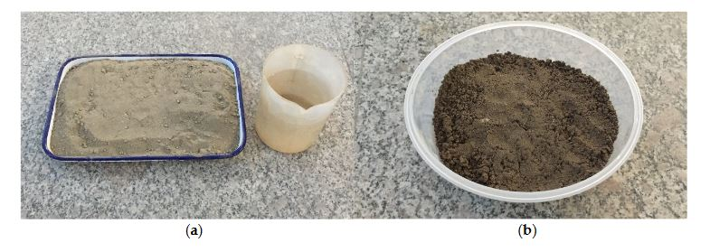 Figure 2. Preparation of the sandy soil. (a) Dry sand, (b) Sand soil (15% water content)