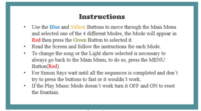 Figure 6.1 : Waterless Light Fountain Instructions