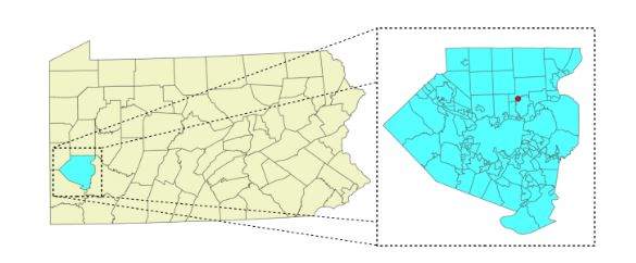 Figure 3.1. Location of the ASWP testbed (red dot) in Allegheny County (highlighted in cyan and enlarged), Pennsylvania, USA